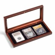 3 Certified Pcgs Ngc Slab Coin Wood Box W/ Glass Lid Safe Storage Display Case