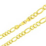 Solid 10k Yellow Gold Mens 12.5mm Wide Heavy Figaro Link Chain Necklace 24-30