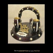 Great Antique Victorian Cigar Cutter Pipe Stand Match Holder Wood And Bone Stand