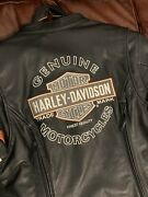 Womens Harley Davidson Leather Motorcycle Jacket Ladies Size Large Excellent