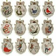 Lenox Twelve Days Of Christmas 12 Piece Ornament Set -new In Gift Box