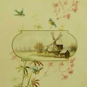 1880and039s German Religious Card Bible Quote Windmill Birds Fab P194