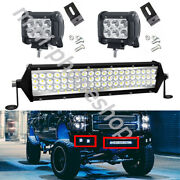 12inch Led Light Bar Spot Flood Combo + 2x 4 Pods For Jeep Ford Suv 4wd Ute 20