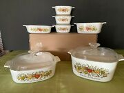 Pyrex Corning Ware Vintage Spice Of Life Design 6 Piece Matched Set