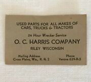 Vintage Wisconsin Risque Business Card Used Parts Cars Trucks Tractors Wrecker
