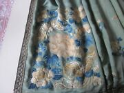 Antique Chinese Skirt Forbidden Stitch Wall Hanging With Carved Handle.
