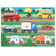 New Melissa And Doug Peg Jigsaw Puzzle Game - For Age 2+ Kids / Child - Vehicles