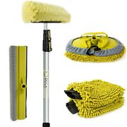 Docapole 5-12 Foot Extension Pole Car Cleaning Wash Kit Squeegee Brush Mitts