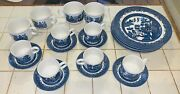 Churchill England Blue Willow 9 1/2 Plates X 6 + 4 Mugs And 6 Cups W/saucers