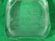 Vtg Rm Yates Signed 1976 American Nautical Ship Etched Glass Block Carving