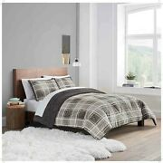 Uggandreg Reversible 3-piece King Size Comforter Set In Charcoal Plaid Nwt
