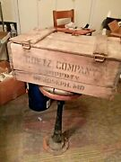 Antique Goetz Beer Company Brewing Wooden Crate Box With Lid St. Joseph Mo