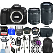 Canon Eos 90d Dslr With 18-55mm And 55-250mm + 32gb + Filter Kit Top Value Bundle