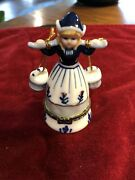 Vintage Ceramic Delft Holland Blue Girl Carrying Water Buckets 4 1/2