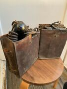 Pair Vintage Wwii Military Field Phones Ee-8-a + Leather Cases As Is Untested