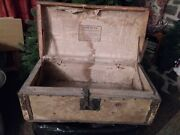 Early Antique Trunk-dome Top Hide Covered W/ Lock And Handles By Jesse Hunt