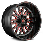 4 18x9 Fuel Stroke D612 56 Lug New Black/red Tint Wheels Free Caps And Lugs