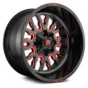 4 20x12 Fuel Stroke D612 5,6,8 Lug New Black/red Tint Wheels Free Caps And Lugs