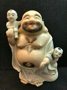 Vintage Chinese Porcelain Laughing Buddha With Hairy Chest And Two Children