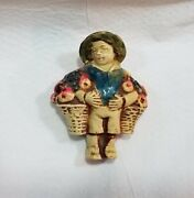 Antique Figural, Boy With Baskets Tape Measure, Celluloid, Novelty, Measured