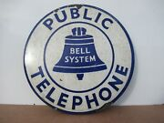 7 Used Antique Original Public Bell System Co. Porcelain Gas And Oil Adv. Sign