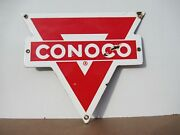 7.5x8.5 Used Antique Vintage Original Red Conoco Porcelain Gas And Oil Adv. Sign