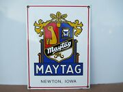 12x9 Antique Authentic Original Maytag Union Co. Porcelain Gas And Oil Adv. Sign
