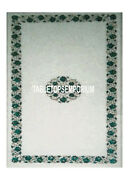 4and039x2and039 White Marble Table Dining Top Malachite Micro Mosaic Gemstone Inlay Decor