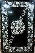 4'x2' Marble Black Dining Tabla Top Mother Of Pearl Inlay Occasional Decor E543