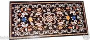 4and039x2and039 Black Marble Dining Room Table Top Rare Pietradura Mosaic Inlay Work Decor