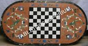 4and039x2and039 Marble Chess Dining Top Table Inlay Parrot Arts Hallway Garden Decor E1197