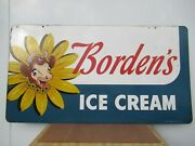 24x44 Org. 1960 Authentic Bordenand039s Ice Cream Elsie Cow Painted On Metal Sign