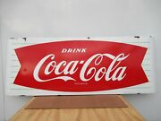 16x44 Org.1950 White And Red Drink Coca Cola Coke Porcelain Sign With 4 Curve In