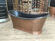 Antique Copper Outside And Black Epi Inside Double Slipper Bath With Plinth