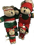 New 2019 Starbucks Christmas Plush Bears And Bear Ornament Set Sold Out 4 Piece
