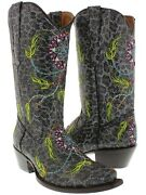 Womens Exotic Leopard Print Cowboy Boots Real Leather Dream Catcher Snip Toe