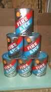 Lot Of 6 Vintage Quart Oil Cans Shell Fire And Ice Oil Cans