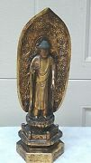 Antique 19c Meiji Japanese Wood Carved Lacquered Gilt Buddha Statue