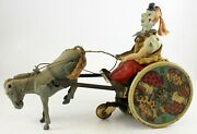 Antique Lehmann Balky Mule Wind-up Clown And Donkey Toy D.r.g.m. Germany Barn Find