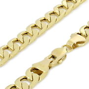 Genuine 14k Yellow Gold 7.5mm Mens Link Italian Curb Cuban Chain Necklace- 30