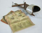 Antique Underwood Stereo 3d Slide Card Viewer Patented 1901 With 8 Cards