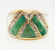 Diamond Turquoise Ring Mother Of Pearl 18k Gold