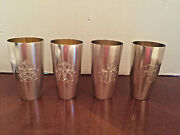 4 Antique 800 German Silver Beakers With Gold Wash W. Coats Of Arms