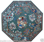 2and039x2and039 Green Round Mosaic Coffee Top Table Inlay Pietradure Art Marquetry Decor