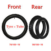 Front + Reat Tyre Set 70/100-19 90/100-16 Tires + Tubes For Dirt Bike Motorcycle