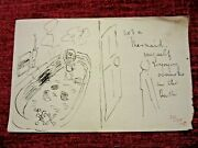C.1908 Unpublished Ink Drawing F Bickmore Smoke In The Bath Original Fc70