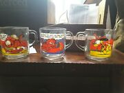 Lot Of 3 Vintage 1978 Garfield Mcdonald's Handled Glass Cups Glasses Kitchenware