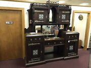 Antique C.1900 Sideboard Butler's Pantry Sold Wood Large And Majestic Tile Mirrors