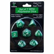 Role 4 Initiative Set Of 7 Large High-visibility Polyhedral Dice Marble Gree...