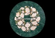 Green Marble Living Room Table Floral Marquetry Inlay Rare Arts Home Decor H5316